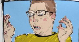 рисунок чихающего парня