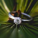 Кольцо на зеленом фоне