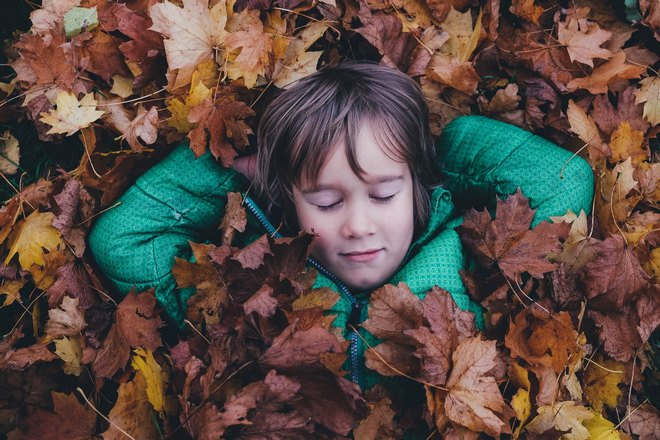 Мальчик спит в листьях