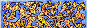 оранжевые червяки на синем фоне