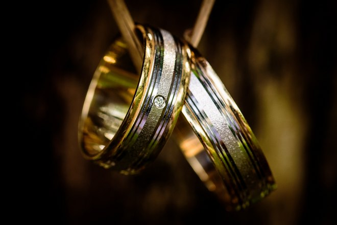 Обручальные кольца крупным планом
