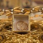 Золотые кольца в коробочке