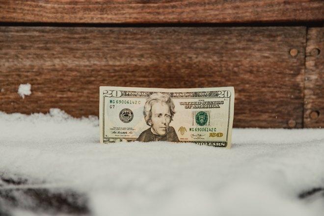 20 долларов на снегу