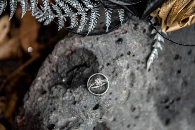 Колечко на камне с папоротником