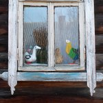Фигурки птиц на окне