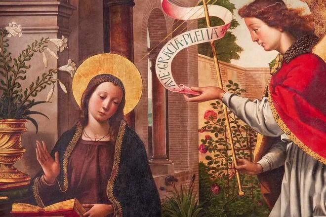 Библейский сюжет - ангел и Дева Мария