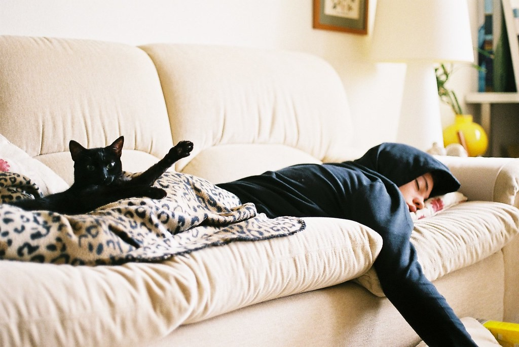 Черная кошка спит вместе с хозяином