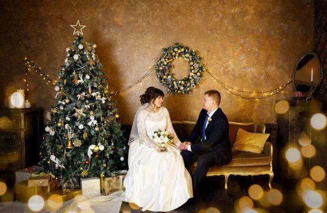 новогодняя свадьба у елки
